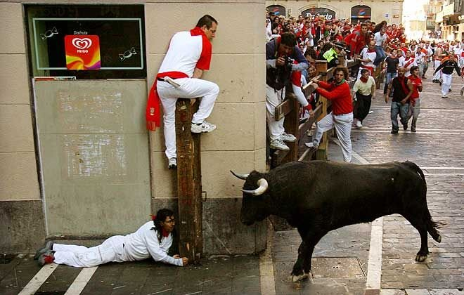 The Running of the Bulls (in Spanish encierro) is a practice that involves running in front of a small group of bulls that have been let loose, on a course of a sectioned-off subset of a town's streets.