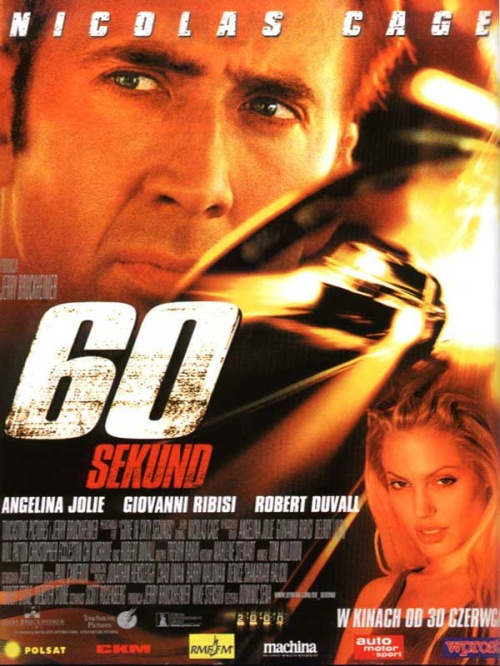 "Gone in 60 Seconds is a 2000 American action film, starring Nicolas Cage and Angelina Jolie. Retired master car thief Randall ""Memphis"" Raines (Nicolas Cage) is forced to return to Long Beach, California and his former trade to steal 50 cars in 72 hours for British crime boss Raymond ""The Carpenter"" Calitri . Calitri is threatening to kill Memphis' younger brother Kip as he failed to make the deadline to deliver the stolen cars."