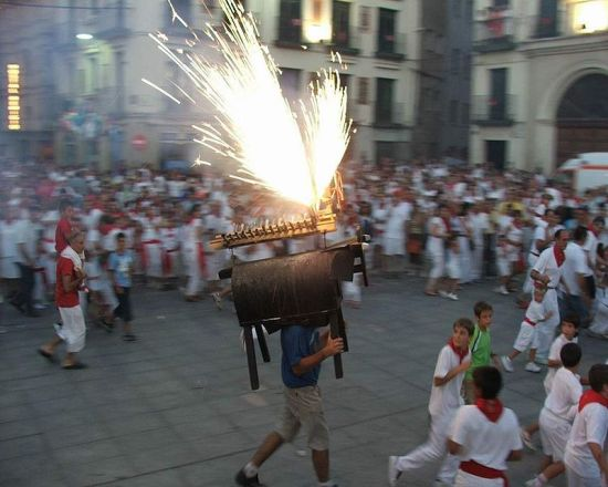 "At 11.00 in the evening there is a ""fire-bull"" ""let loose"" around Estafeta street and Mercaderes for the children to play with."