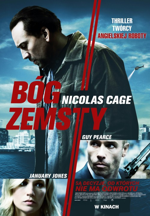 Seeking Justice is a 2011 action-thriller starring Nicolas Cage, January Jones and Guy Pearce. In New Orleans, Will Gerard (Nicolas Cage) is a humble English teacher at Rampart High School. One night, after a performance, Will's wife Laura is severely beaten and brutally raped by a stranger named Hodge.