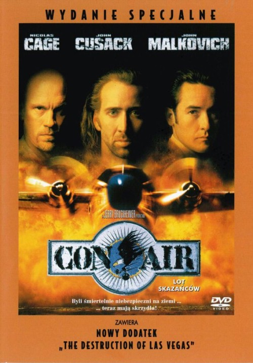 Con Air is an 1997 American action-thriller film starring Nicolas Cage, John Cusack, Colm Meaney and John Malkovich. Gulf War veteran and former Army Ranger Cameron Poe is sentenced to a maximum-security federal penitentiary for using excessive force and killing a drunk man who attempted to assault his pregnant wife, Tricia. Eight years later, Poe is paroled on good conduct, and eager to see his daughter Casey whom he has never met.