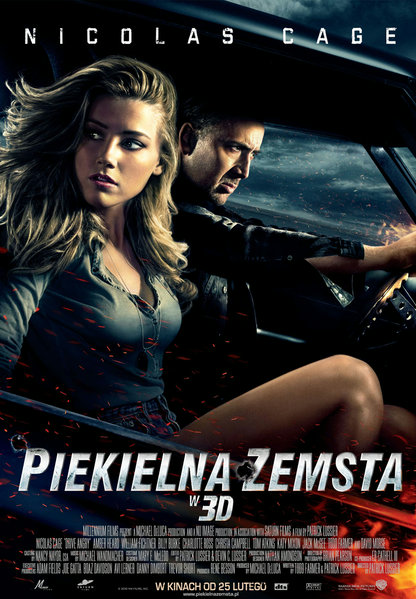 Drive Angry is a 2011 American supernatural action film starring Nicolas Cage and Amber Heard. John Milton (Nicolas Cage) is an undead criminal who has broken out of hell to kill Jonah King, a cult leader who tricked Milton's daughter into joining his followers in the wake of Milton's death, only to kill her and her husband and steal their daughter - Milton's granddaughter - to be sacrificed in a Satanist ritual.
